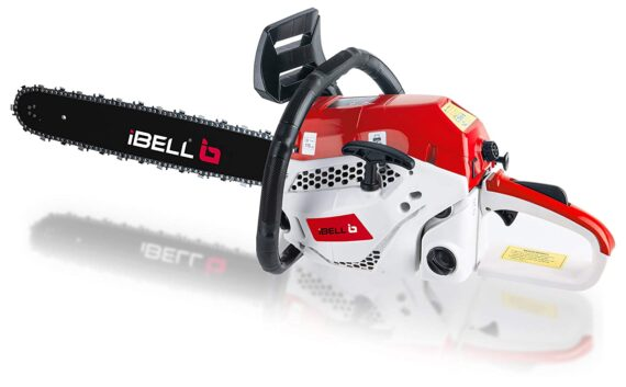"""iBELL 2058CS, 18"""" 58CC Powerful 2 Stroke Handed Petrol Chain Saw, Woodcutting Saw for Farm, Garden and Ranch with Tool Kit - 6 Months Warranty"""