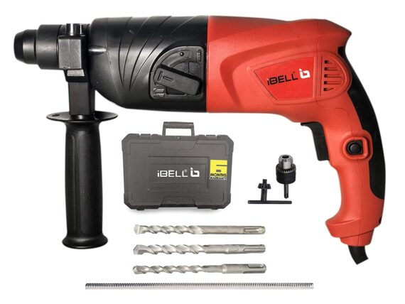 IBELL RH20-25, SDS-Plus, 20MM, 500W Heavy Duty Safety Clutch 2 Functions with Vibration Control Rotary Hammer Drill, Chisels and Drill Bits with Case
